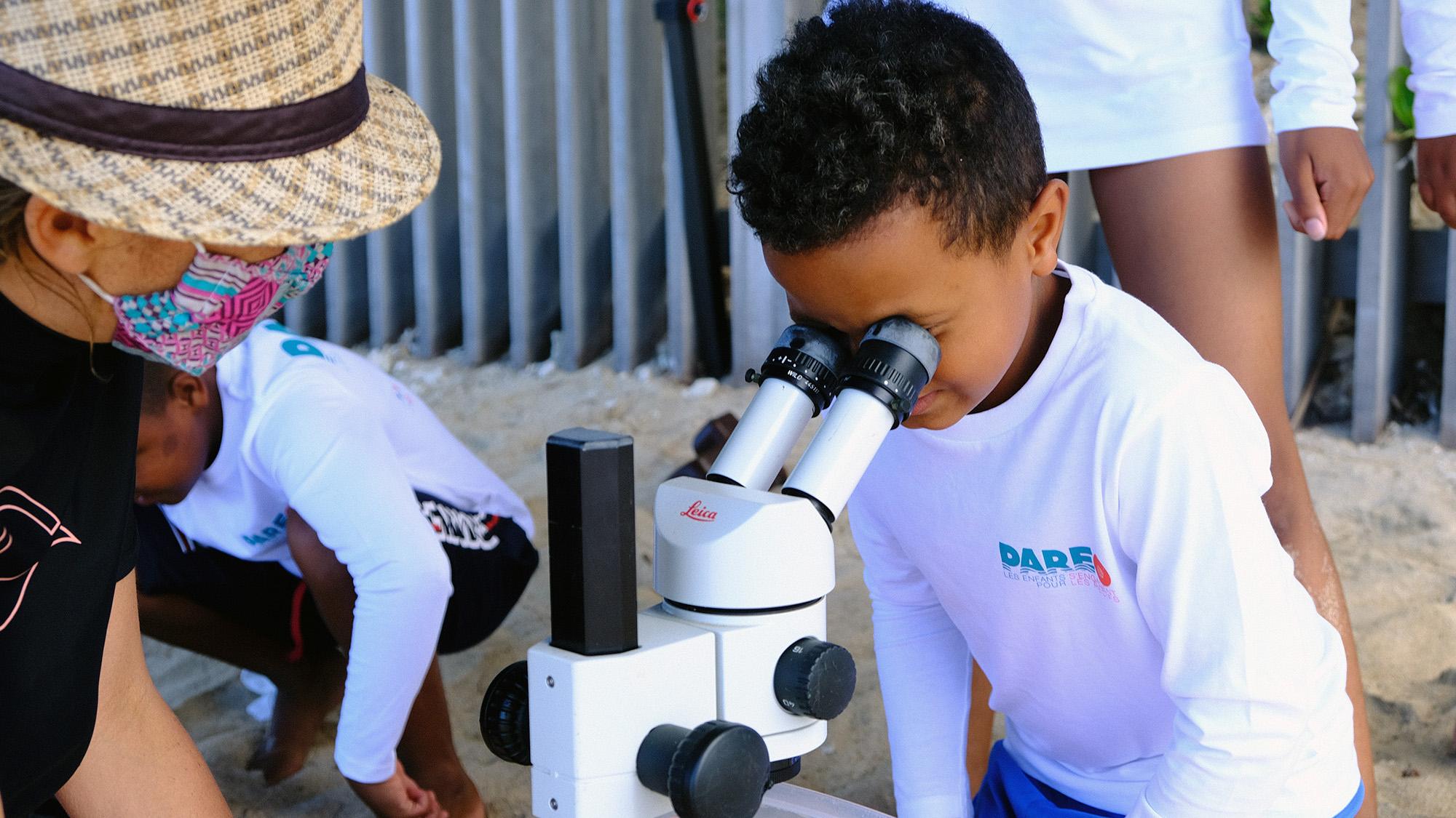En attendant la randonnée aquatique, les enfants observent les polypes du corail à la loupe binoculaireObservation